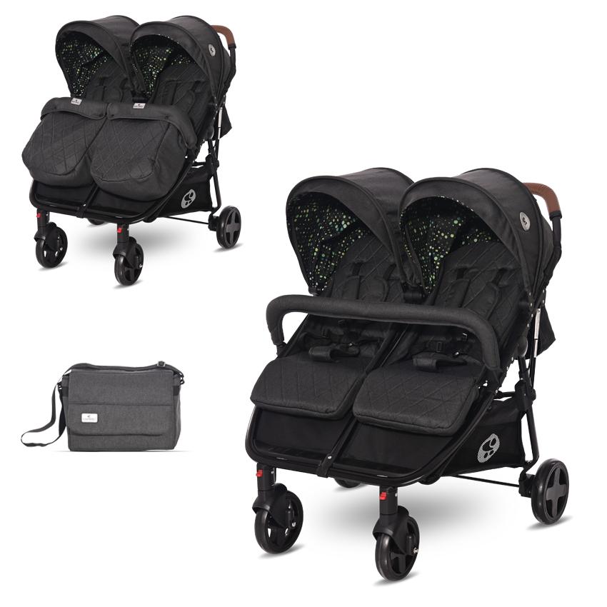 Kočárek pro dvojčata Lorelli DUO BLACK CIRCLES+Taška na kočárek