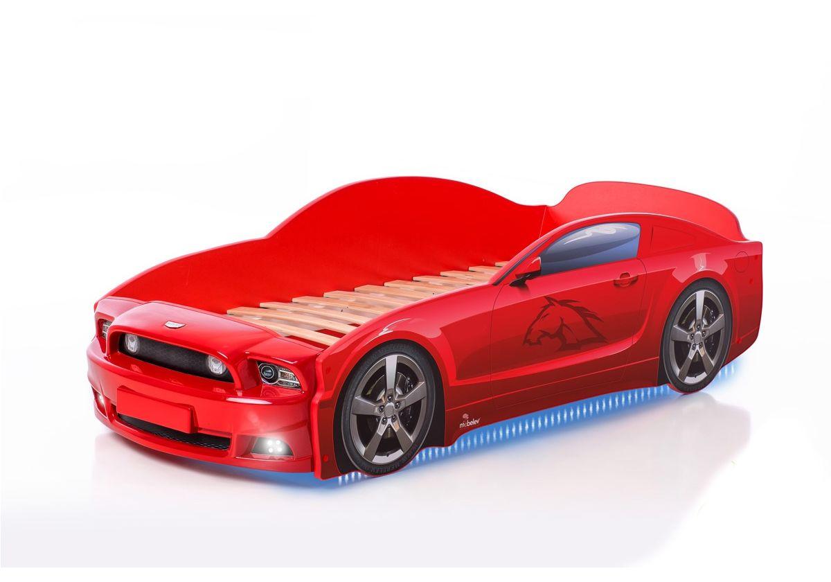 Postel auto LIGHT PLUS  F-Mustang  červená, LED světla, Spodní světlo