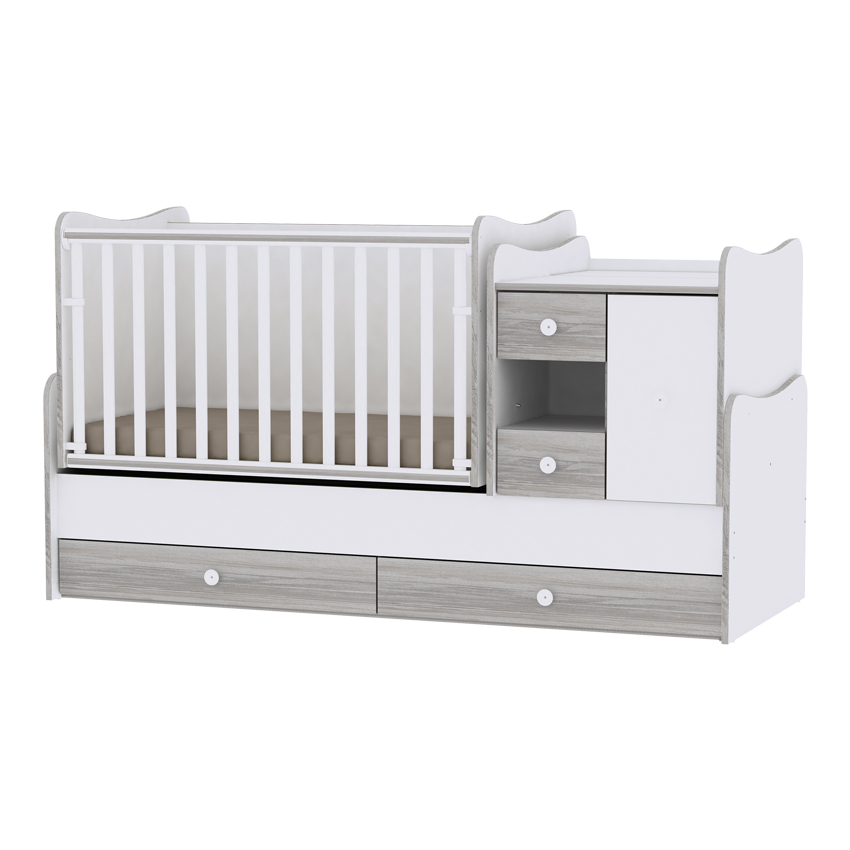 Multifunkčná detská postieľka Lorelli MINI MAX New 190x72 WHITE/ARTWOOD