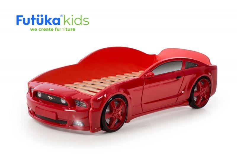 Postel auto LIGHT 3D F-Mustang  červená, LED světla