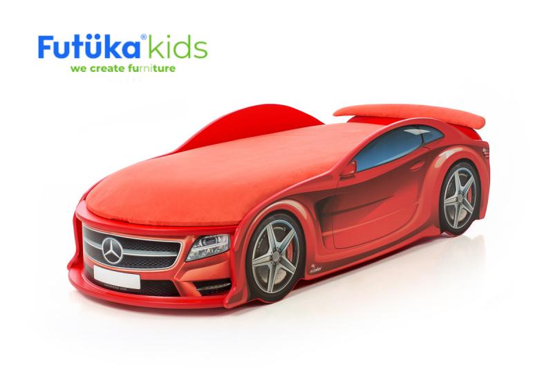 Dětská postel auto Futuka kids UNO STAR-M + Matrace Standart + Spojler ČERVENÁ