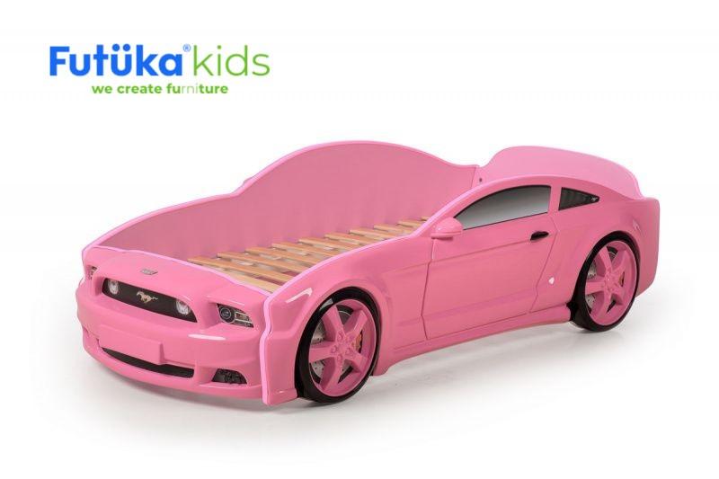 Postel auto LIGHT 3D F-Mustang  růžová