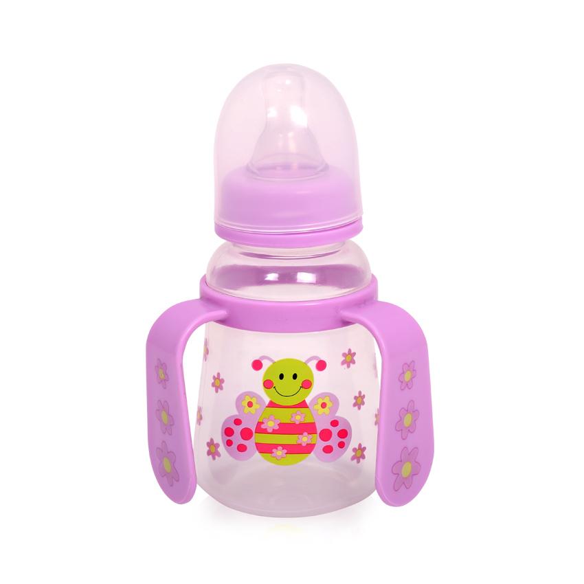 Detská fľaša/hrnček Lorelli so slamkou s uškami 125 ml PINK BUTTERFLY