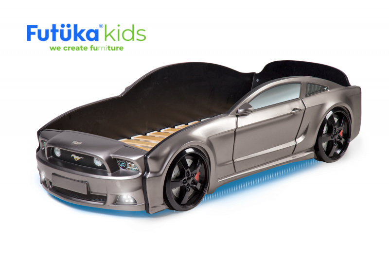 Postel auto LIGHT 3D F-Mustang  grafit, LED světla, Spodní světlo