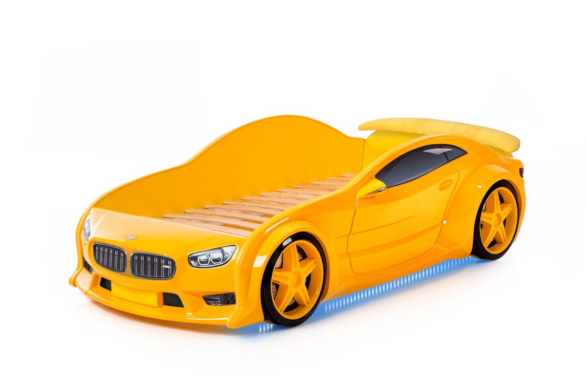 Postýlka auto EVO  žlutá, LED světla, Spodní světlo