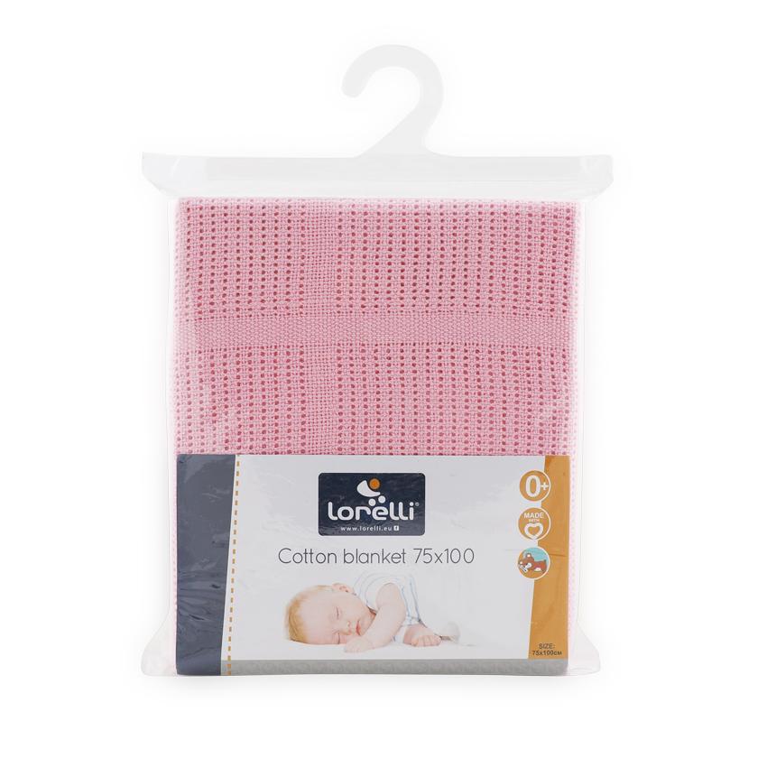 Dětská háčkovaná bavlněná deka Lorelli 75x100 cm PINK