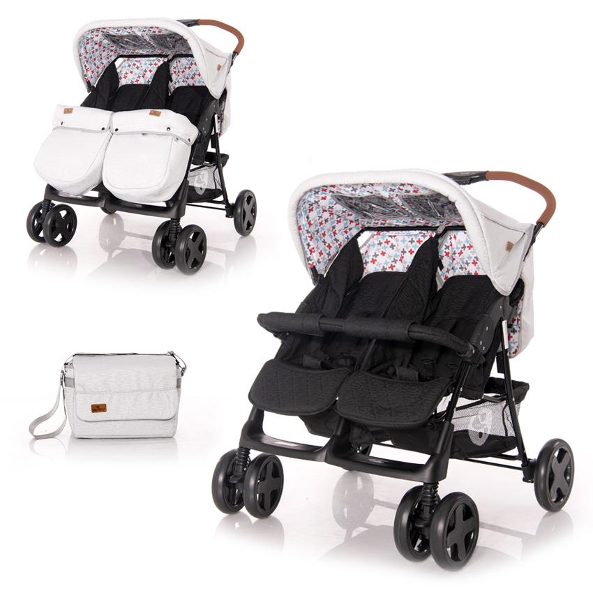 Kočík pre dvojčatá Lorelli TWIN GREY&BLACK CROSS + Taška na kočík