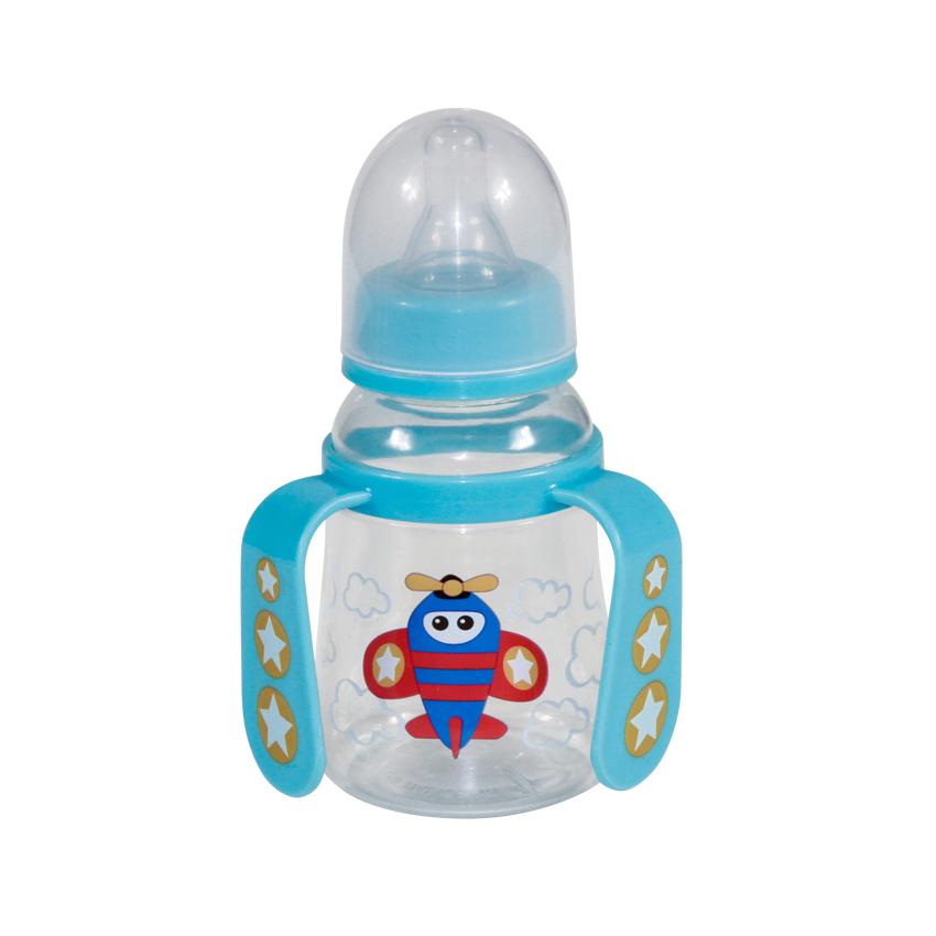 Detská fľaša/hrnček Lorelli so slamkou s uškami 125 ml BLUE PLANE