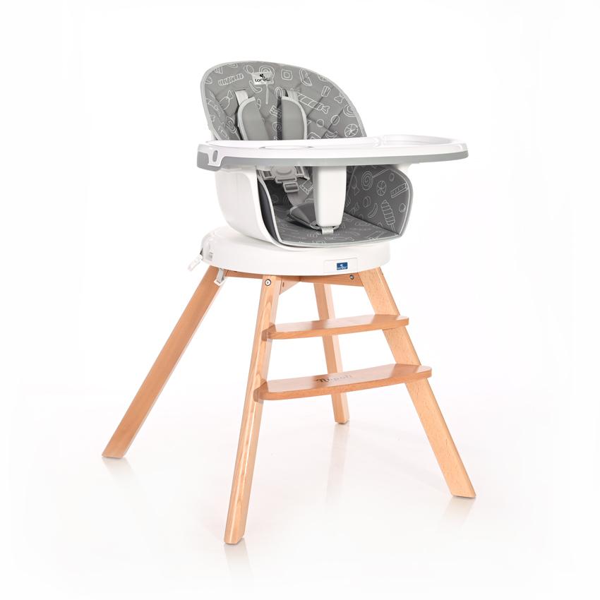 Jídelní židlička Lorelli NAPOLI WITH ROTATION GREY CANDY